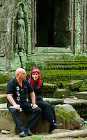 CAMBODIA 2007, SIAM REAP, TOURIST AND RED HAIR at Preak Khan Temple near Angkor Wat