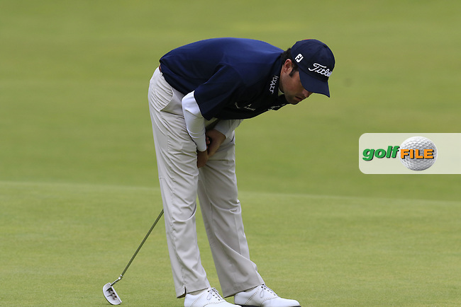 Robert Streb (USA) misses his birdie putt on the 18th hole during Sunday's Round 3 of the 144th Open Championship, St Andrews Old Course, St Andrews, Fife, Scotland. 19/07/2015.<br /> Picture Eoin Clarke, www.golffile.ie