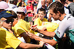 Marcus Burghardt (GER) Bora-Hansgrohe with fans at sign on before the start of Stage 18 of the 2019 Tour de France running 208km from Embrun to Valloire, France. 25th July 2019.<br /> Picture: ASO/Pauline Ballet | Cyclefile<br /> All photos usage must carry mandatory copyright credit (© Cyclefile | ASO/Pauline Ballet)