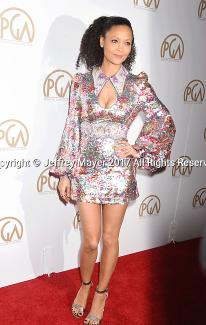 HOLLYWOOD, CA - JANUARY 28: Actress Thandie Newton arrives at the 28th Annual Producers Guild Awards at The Beverly Hilton Hotel on January 28, 2017 in Beverly Hills, California.