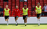 Mark Duffy, Samir Carruthers Cameron Carter Vickers and George Baldock of Sheffield Utd warm up during the Championship match at the City Ground Stadium, Nottingham. Picture date 30th September 2017. Picture credit should read: Simon Bellis/Sportimage