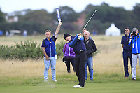 Euan Walker (GB&I) on the 3rd during the Foursomes at the Walker Cup, Royal Liverpool Golf CLub, Hoylake, Cheshire, England. 07/09/2019.<br /> Picture Thos Caffrey / Golffile.ie<br /> <br /> All photo usage must carry mandatory copyright credit (© Golffile | Thos Caffrey)