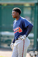 Outfielder Mycal Jones (22) of the Atlanta Braves farm system in a Minor League Spring Training intrasquad game on Wednesday, March 18, 2015, at the ESPN Wide World of Sports Complex in Lake Buena Vista, Florida. (Tom Priddy/Four Seam Images)