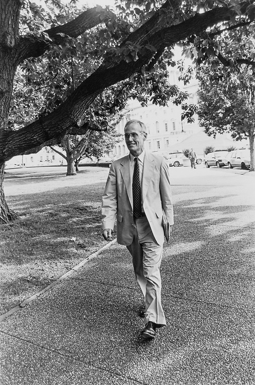 Not long before the Senate adjourned for recess ,Sen. Slade Gorton, R-Wash., walking back to his Hart office on Aug. 12, 1992. (Photo by Maureen Keating/CQ Roll Call)