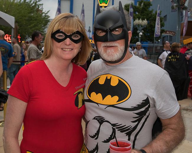 Bob and Ronda Bailey during the Super Hero Crawl in Reno on Saturday, July 15 2017.