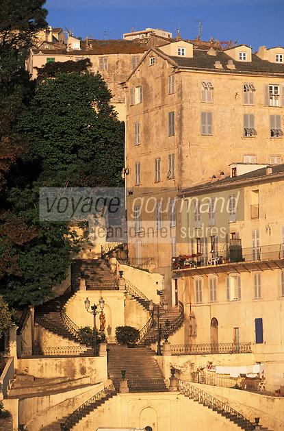 Europe/France/Corse/2B/Haute-Corse/Cap Corse/Bastia: Le port - Escalier Romieu et jardin de la citadelle