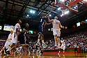01 December 2010: Jackson State forward Grant Maxey (32) get one passed Nebraska center Andre Almeida (32) in the second half at the Devaney Sports Center in Lincoln, Nebraska. Nebraska defeated Jackson State 76 to 57.