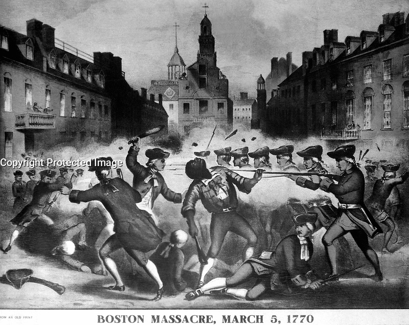 Boston Massacre, March 5, 1770.  Copy of chromolithograph by John Bufford after William L. Champney. ca. 1856. (Work Projects Administration)  <br />
