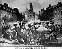 Boston Massacre, March 5, 1770.  Copy of chromolithograph by John Bufford after William L. Champney. ca. 1856. (Work Projects Administration)  <br />NARA FILE #:  069-N-4877-C<br />WAR & CONFLICT #:  2