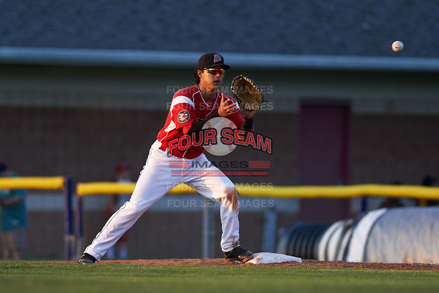 Batavia Muckdogs first baseman Brad Haynal (23) during a game against the Williamsport Crosscutters on July 15, 2015 at Dwyer Stadium in Batavia, New York.  Williamsport defeated Batavia 6-5.  (Mike Janes/Four Seam Images)
