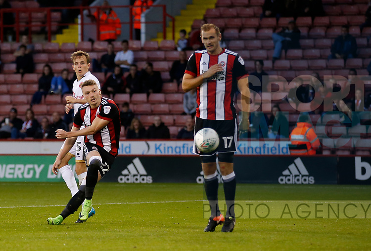 Caolan Lavery of Sheffield Utd brings out a save by Mark Gillespie of Walsall during the Carabao Cup First Round match at Bramall Lane Stadium, Sheffield. Picture date: August 9th 2017. Pic credit should read: Simon Bellis/Sportimage