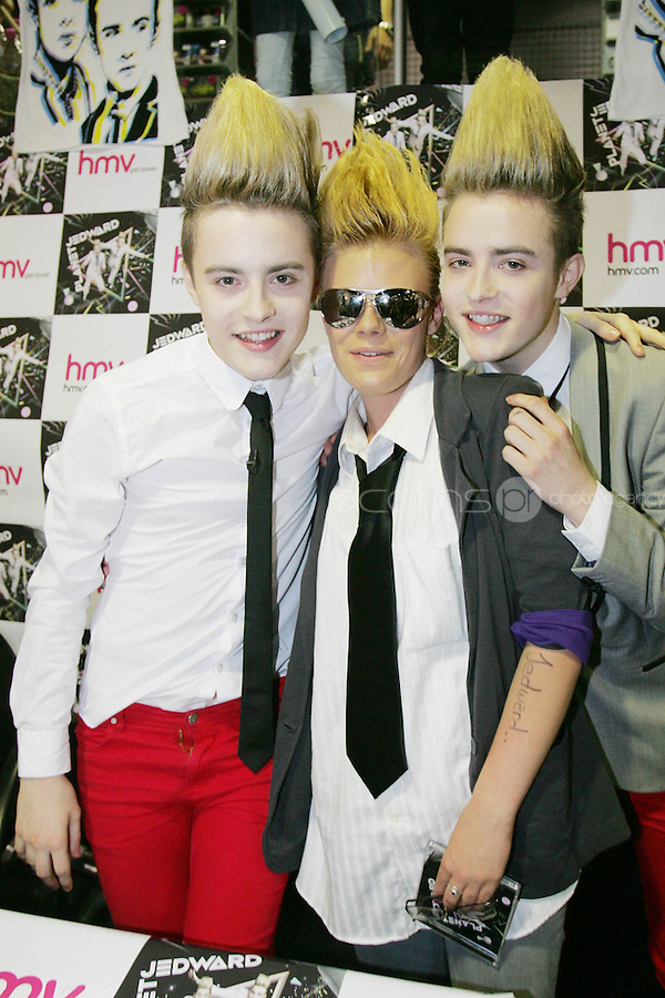 16/7/2010. Jedward are pictured with fan Chantelle Mc Dermott at the launch of their new album at HMV Dundrum. Picture James Horan/Collins Photos