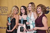 Downton Abbey stars Joanne Froggatt (left), Sophie McShera, Laura Carmichael &amp; Phyllis Logan at the 2015 Screen Actors Guild  Awards at the Shrine Auditorium.<br /> January 25, 2015  Los Angeles, CA<br /> Picture: Paul Smith / Featureflash