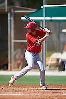 GCL Cardinals second baseman Brady Whalen (40) at bat during the first game of a doubleheader against the GCL Marlins on August 13, 2016 at Roger Dean Complex in Jupiter, Florida.  GCL Cardinals defeated GCL Marlins 4-2 in a continuation of a game originally started on August 8th.  (Mike Janes/Four Seam Images)