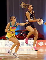 20.10.2015 Silver Ferns Kayla Cullen and Australia's Paige Hadley in action during the Silver Ferns v Australian Diamonds netball test match played ay Horncastle Arena in Christchruch. Mandatory Photo Credit ©Michael Bradley.