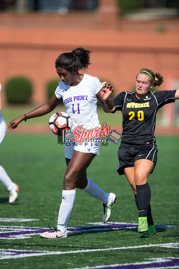 Bri Jean-Charles (11) of the High Point Panthers battles for the ball with Morgan Mosack (20) of the Appalachian State Mountaineers during first half action at Vert Track, Soccer & Lacrosse Stadium on August 26, 2016 in High Point, North Carolina.  The Panthers defeated the Mountaineers 2-0.  (Brian Westerholt/Sports On Film)