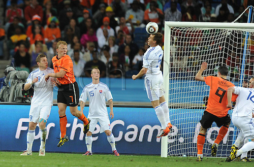 28 06 2010    Radoslav Zabavnik C of Slovakia Heads The Ball during The 2010 World Cup Round of 16 Soccer Match Against The Netherlands AT Moses Mabhida stadium in Durban South Africa
