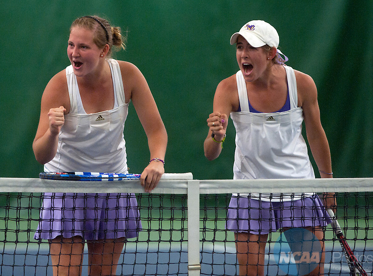 22 MAY 2013: Williams College's Maria Pylypiv, left, and Kathleen Elkins celebrate after winning their #2 Doubles match during the Division III Women's Tennis Championship held at the Markin Center in Kalamazoo, MI.  Williams defeated Emory  5-2 to win the national title.  Erik Holladay/NCAA Photos