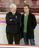 Steve Greeley (BC - Head Coach), Tommy Greeley - The Boston College Eagles defeated the Bryant University Bulldogs 2-1 on Saturday, December 11, 2010, at Conte Forum in Chestnut Hill, Massachusetts.