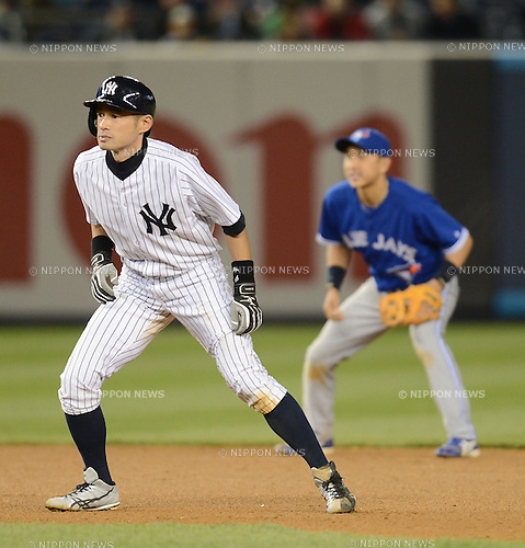 (L-R) Ichiro Suzuki (Yankees), Munenori Kawasaki (Blue Jays),.APRIL 26, 2013 - MLB :.Ichiro Suzuki of the New York Yankees leads off of second base as shortstop Munenori Kawasaki of the Toronto Blue is seen in the background during the baseball game at Yankee Stadium in The Bronx, New York, United States. (Photo by AFLO)