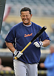 28 September 2012: Detroit Tigers third baseman Miguel Cabrera shows some discomfort at the batting cage prior to a game against the Minnesota Twins at Target Field in Minneapolis, MN. The Twins defeated the Tigers 4-2 in the first game of their 3-game series. Mandatory Credit: Ed Wolfstein Photo