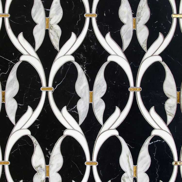 Whistler, a waterjet stone mosaic, shown in polished Nero Marquina, Dolomite, Cirrus, and Gold Glass, is part of the Bright Young Things™ collection by New Ravenna.
