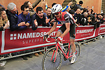 Toms Skujins (LAT) Trek-Segafredo climbs Via Santa Caterina in Siena in the last km of Strade Bianche 2019 running 184km from Siena to Siena, held over the white gravel roads of Tuscany, Italy. 9th March 2019.<br /> Picture: Eoin Clarke | Cyclefile<br /> <br /> <br /> All photos usage must carry mandatory copyright credit (&copy; Cyclefile | Eoin Clarke)