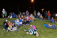 Kansas City, MO - Friday May 13, 2016: FC Kansas City fans watch as their team plays a game against the Chicago Red Stars  during a regular season National Women's Soccer League (NWSL) match at Swope Soccer Village. The match ended 0-0.