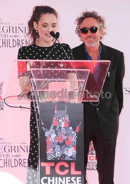 08 September 2016 - Hollywood, California. Winona Ryder, Tim Burton. Tim Burton Hand And Footprint Ceremony held at TCL Chinese Theatre. Photo Credit: Birdie Thompson/AdMedia