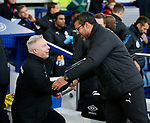 Sammy Lee shakes hands with David Wagner manager of Huddersfield Town during the premier league match at the Goodison Park Stadium, Liverpool. Picture date 2nd December 2017. Picture credit should read: Simon Bellis/Sportimage