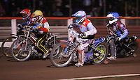 Heat 14: Maciej Jankowski (white), Morten Risager (yellow), Stuart Robson (blue) and Jonas Davidsson (red) - Lakeside Hammers vs Swindon Robins, Elite League Speedway at the Arena Essex Raceway, Purfleet - 03/09/10 - MANDATORY CREDIT: Rob Newell/TGSPHOTO - Self billing applies where appropriate - 0845 094 6026 - contact@tgsphoto.co.uk - NO UNPAID USE.