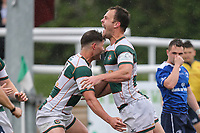 Joe Munro of Ealing Trailfinders (right) celebrates after he scores a try during the British & Irish Cup Final match between Ealing Trailfinders and Leinster Rugby at Castle Bar, West Ealing, England  on 12 May 2018. Photo by David Horn / PRiME Media Images.