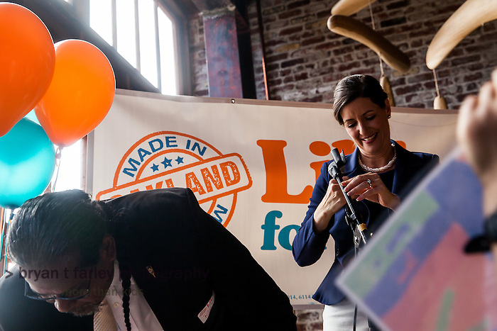 District 4 Council Member Libby Schaaf kicked off her mayoral campaign on Saturday March 1, 2014. Libby's slogan, Made in Oakland, emphasized her Oakland background.