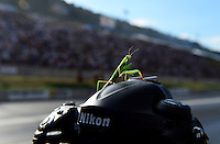 Jul, 20, 2012; Morrison, CO, USA: Detailed view of a praying mantis atop of a Nikon camera during qualifying for the Mile High Nationals at Bandimere Speedway. Mandatory Credit: Mark J. Rebilas-