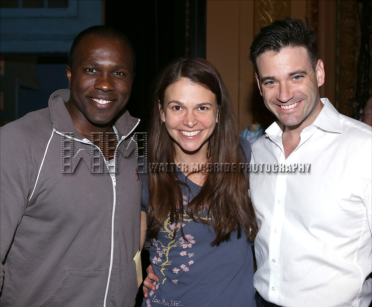 Joshua Henry, Sutton Foster and Colin Donnell during the Opening Night Broadway AEA Gypsy Robe Ceremony honoring Anastacia McCleskey for 'Violet'  at The American Airlines Theatre on April 20, 2014 in New York City.