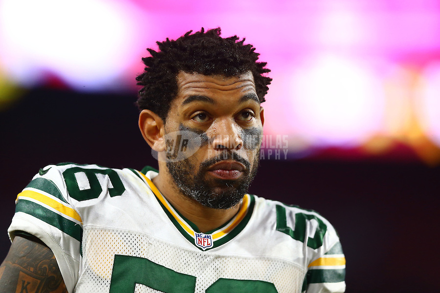 Dec 27, 2015; Glendale, AZ, USA; Green Bay Packers linebacker Julius Peppers (95) against the Arizona Cardinals at University of Phoenix Stadium. The Cardinals defeated the Packers 38-8. Mandatory Credit: Mark J. Rebilas-USA TODAY Sports