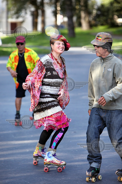 People roller skate in Golden Gate Park, San Francisco, California.