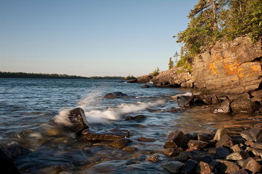 The rugged Lake Superior shoreline at Rock Harbor at Isle Royale National Park in Michigan USA.