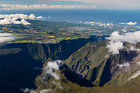 France, île de la Réunion, Parc national de La Réunion, classé Patrimoine Mondial de l'UNESCO, Les Hautes Plaines,  vallée encaissée de Grand Bassin  (vue aérienne) // France, Reunion island (French overseas department), Parc National de La Reunion (Reunion National Park), listed as World Heritage by UNESCO, High Lands, deep valley of Grand Bassin, (aerial view)