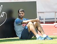 Napoli Calcio ritiro precampionato a Dimaro ( TN)  18 Luglio 2014<br /> nella foto   Raul Albiol <br /> Napoli soccer pre season summer training in Dimaro