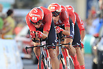 Team Sunweb in action during Stage 1 of La Vuelta 2019, a team time trial running 13.4km from Salinas de Torrevieja to Torrevieja, Spain. 24th August 2019.<br /> Picture: Eoin Clarke | Cyclefile<br /> <br /> All photos usage must carry mandatory copyright credit (© Cyclefile | Eoin Clarke)