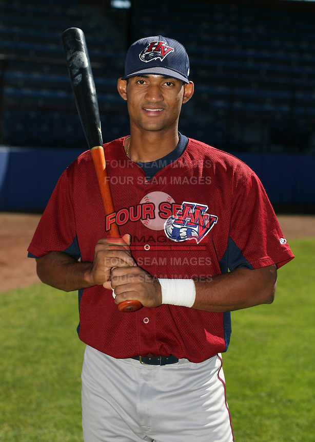 Angel Fermin of the Hudson Valley Renegades, Class-A affiliate of the Tampa Bay Devil Rays, during New York-Penn League baseball action.  Photo by Mike Janes/Four Seam Images