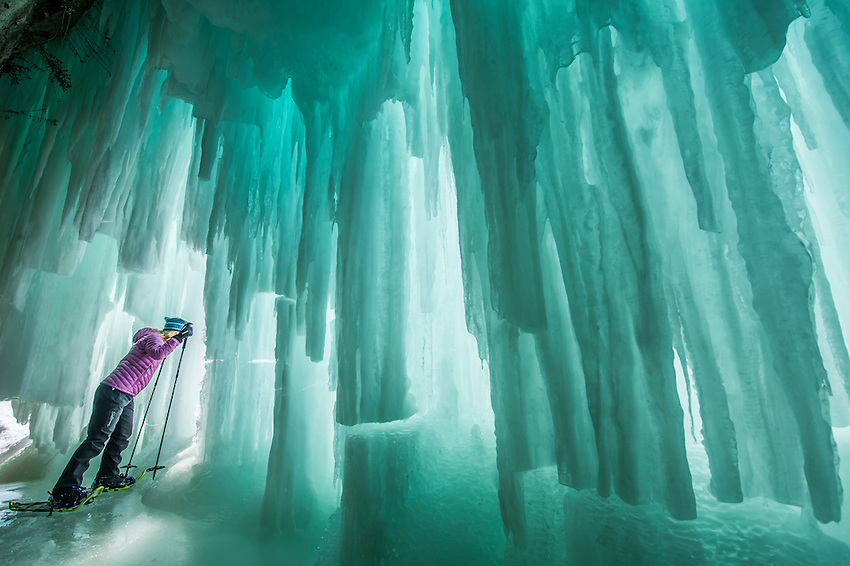 Exploring the Lake Superior ice caves of Grand Island near Munising on Michigan's Upper Peninsula.
