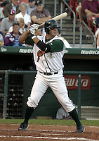 September 15, 2004:  Catcher Ryan Garko of the Buffalo Bisons, International League (AAA) affiliate of the Cleveland Indians, during a game at Dunn Tire Park in Buffalo, NY.  Photo by:  Mike Janes/Four Seam Images