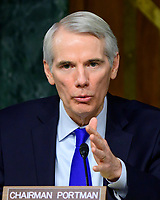 """United States Senator Rob Portman (Republican of Ohio) questions witnesses as they testify before the US Senate Committee on Homeland Security and Governmental Affairs Permanent Subcommittee on Investigations during a hearing on """"Examining Private Sector Data Breaches"""" on Capitol Hill in Washington, DC on Thursday, March 7, 2019.<br /> Credit: Ron Sachs / CNP/AdMedia"""
