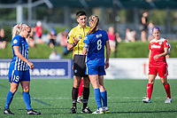 Boston, MA - Saturday July 01, 2017: Referee Elvis Osmanovic and Julie King during a regular season National Women's Soccer League (NWSL) match between the Boston Breakers and the Washington Spirit at Jordan Field.