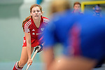 GER - Mannheim, Germany, December 19: During the 1. Bundesliga Sued Damen indoor hockey match between Mannheimer HC (blue) and Nuernberger HTC (red) on December 19, 2015 at Irma-Roechling-Halle in Mannheim, Germany. Final score 8-2 (HT 3-2). (Photo by Dirk Markgraf / www.265-images.com) *** Local caption *** Alexandra Zink #79 of Nuernberger HTC