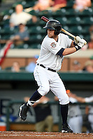 Lakeland Flying Tigers designated hitter Bobby Borchering (4) at bat during a game against the Tampa Yankees on April 9, 2015 at Joker Marchant Stadium in Lakeland, Florida.  Tampa defeated Lakeland 2-0.  (Mike Janes/Four Seam Images)