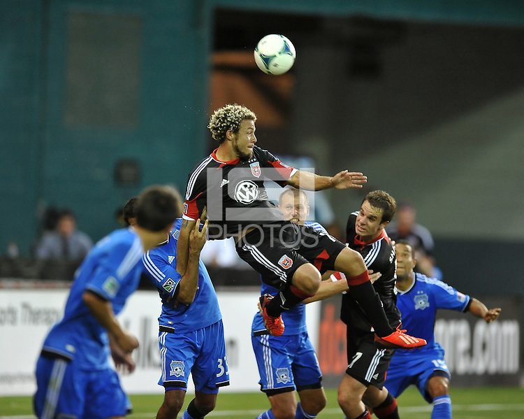 Nick DeLeon (18) of D.C. United goes up to make a play.  D.C. United defeated the San Jose Earthquakes 1-0, at RFK Stadium, Saturday June 22 , 2013.