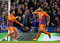Sergio Aguero of Manchester City celebrates after scoring during the Premier League match between Chelsea and Manchester City at Stamford Bridge on April 5th 2017 in London, England. <br /> Foto PHC Images / Panoramic / Insidefoto <br /> ITALY ONLY
